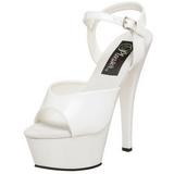 Branco Verniz 15 cm KISS-209 Plataforma Sapatos Salto Alto