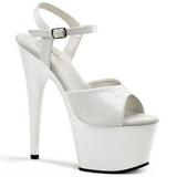 Branco Verniz 18 cm ADORE-709 Plataforma Sapatos Salto Alto