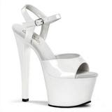 Branco Verniz 18 cm Pleaser SKY-309 Plataforma Sapatos Salto Alto