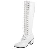 Branco Verniz 5 cm RETRO-302 Botas com Cadarco Femininas