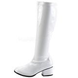 Branco Vernizado 5 cm RETRO-300 Botas Salto Alto Mulher