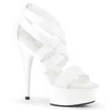 Branco banda elástica 15 cm DELIGHT-669 sapatos pleaser femininos