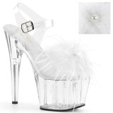Branco marabu penas 18 cm ADORE-708MF sapatos de pole dance