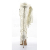 Branco tecido de renda 13 cm AMUSE-2012 Botas Agulha Femininas
