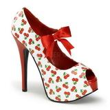 Cereja Branco 14,5 cm TEEZE-25-3 calçados femininos com salto alto