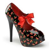 Cereja Preto 14,5 cm Burlesque TEEZE-25-3 calçados femininos com salto alto