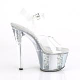 Cinza brilho 18 cm SKY-308OF sandálias de saltos pole dance