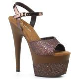 Cobre 18 cm ADORE-709-2G brilho plataforma sandálias mulher