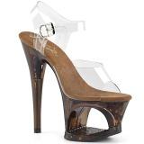 Cobre 18 cm MOON-708GFT brilho plataforma sandálias mulher