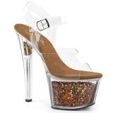 Cobre 18 cm SKY-308GF brilho plataforma sandálias mulher