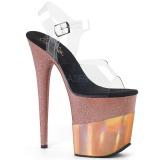 Cobre 20 cm FLAMINGO-808-2HGM brilho plataforma sandálias mulher