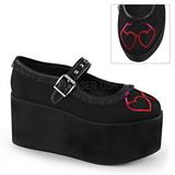 Coração lona 8 cm CLICK-02-1 sapatos de mulher góticos