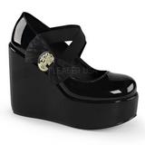 Couro Envernizado 13 cm POISON-02 Sapato Scarpin Cunha Alto