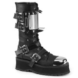 Couro Vegan GRAVEDIGGER-250 botas dedo do pé de aço - botas de combate demonia