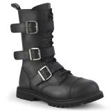 Couro Vegan RIOT-12BK botas dedo do pé de aço - botas de combate demonia