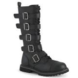 Couro Vegan RIOT-18BK botas dedo do pé de aço - botas de combate demonia