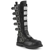 Couro Vegan RIOT-21MP botas dedo do pé de aço - botas de combate demonia