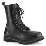 Couro genuíno RIOT-10 botinha dedo do pé de aço - botinhas de combate demonia