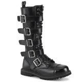 Couro genuíno RIOT-18BK botas dedo do pé de aço - botas de combate demonia