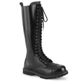 Couro genuíno RIOT-20 botas dedo do pé de aço - botas de combate demonia