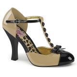 Creme Camurca 10 cm SMITTEN-10 Rockabilly Sapatos Scarpin Femininos