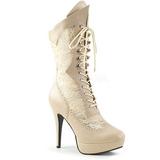 Creme Imitacao couro 13,5 cm CHLOE-115 numeros grandes botinha mulher
