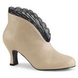 Creme Imitacao couro 7,5 cm JENNA-105 numeros grandes botinha mulher
