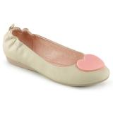 Creme OLIVE-05 sapatos de bailarinas baixos