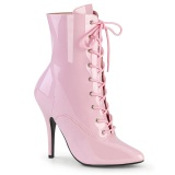 Envernizado 13 cm SEDUCE-1020 fetiche botinha salto alto rosa