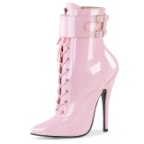 Envernizado 15 cm DOMINA-1023 fetiche botinha salto alto rosa
