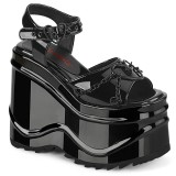 Envernizado 15 cm Demonia WAVE-09 lolita sandálias de cunha plataforma