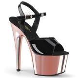 Envernizado 18 cm ADORE-709 Sapatos Salto Alto Plataforma Rosa