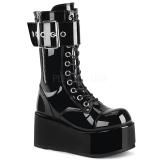 Envernizado 9,5 cm PETROL-150 botas demonia - botas plataforma unisex