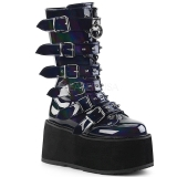 Envernizado 9 cm DAMNED-225 plataforma botas mulher com fivelas
