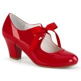 Envernizado Vermelho 6,5 cm WIGGLE-32 retro vintage sapatos maryjane com salto grosso