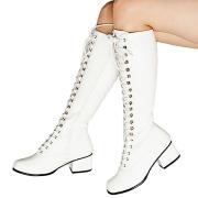 Envernizado botas de amarrar brancas 5 cm - botas años 70 hippie disco