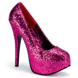 Fucsia Glitter 14,5 cm Burlesque BORDELLO TEEZE-06G Plataforma Scarpin Salto Alto