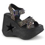 Glitter 13 cm Demonia DYNAMITE-02 sandálias de cunha plataforma