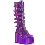 Holograma 14 cm SWING-815 plataforma botas alternativo com fivelas roxo