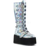Holograma 9 cm DAMNED-318 plataforma botas mulher com fivelas