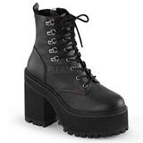 Imitação Couro 12 cm ASSAULT-100 botinha de mulher plataforma góticos