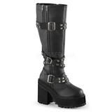 Imitação Couro 12 cm ASSAULT-203 plataforma botas mulher com fivelas
