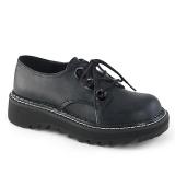 Imitação Couro 3 cm LILITH-99 Zapatos do punk pretos com cadarços