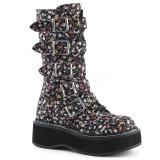 Imitação Couro 5 cm EMILY-340 plataforma botas mulher com fivelas