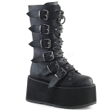 Imitação Couro 9 cm DAMNED-225 plataforma botas mulher com fivelas