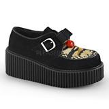 Imitacao Couro CREEPER-213 Creepers Sapatos Mulher Plataforma