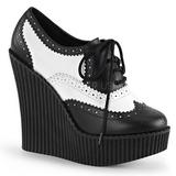 Imitacao Couro CREEPER-307 sapatos creepers cunha altos