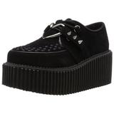 Imitação Couro Preto CREEPER-206 sapatos creepers de mulher rockabilly