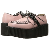 Imitação Couro Rosa CREEPER-206 sapatos creepers de mulher rockabilly