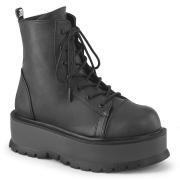 Imitação couro boots 5 cm SLACKER-55 Preto botinha femininos com cadarco